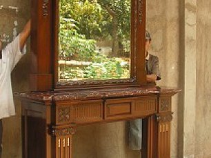 Гамма каминный портал с зеркалом 7701-091-HP-M