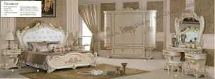 Принцесса 3829 спальня комплект: кровать 180 +2 тумбы прикроватные+ стол туалетный с зеркалом+шкаф 5 дверный+пуф