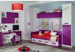 Данза детская 14: кровать +тумба+стол письменный 2шт+полка 2шт+шкаф комбинированный+ шкаф 1дверный+подвесной модуль с дверью 2шт