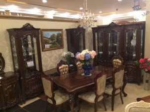 Магдалена столовая комплект: сервант 3 двер+комод с зеркалом+стол+6 стул+2 стула с подлокотниками орех