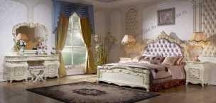Венеция К спальня комплект: кровать 180х200 + 2 тумбы прикроватные + туалетный стол с зеркалом + 4 дверный шкаф (без пуфа)