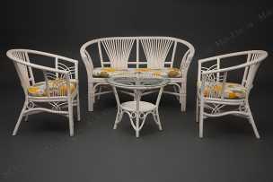 Атланта комплект: диван + столик + 2 кресла белый