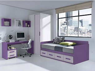 Данза детская 03: кровать +шкаф+тумбочка+стол письменный+ полка