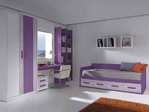 Данза детская 06: кровать +шкаф+тумбочка+стол письменный+ полка подвесная+библиотека