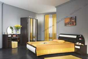 Новелла-42 спальня комплект: кровать 160х200+тумба прикроватная 2шт+туалетный стол+тумба (к туалетному столу) 2шт.+зеркало (венге)