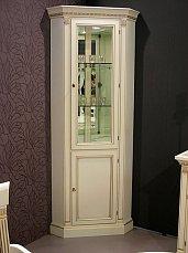 Венеция витрина угловая с боковым стеклом (белая)