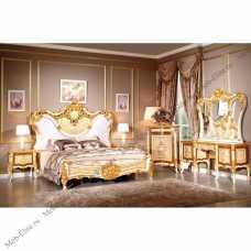 Эсмиральда спальня комплект: кровать 180х200 + 2 тумбы прикроватные + уталетный стол с зеркалом + шкаф 4 дверный + пуф