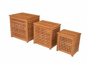 Валенза комплект из 3 корзин для хранения белья тиковое дерево