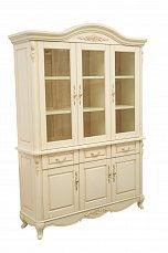 Белый Цветок шкаф книжный 3 дверный