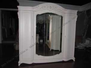 Афина шкаф 5 дверный белая с жемчугом