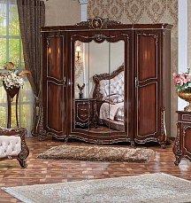 Монреаль шкаф 5 дверный с зеркалом орех глянец