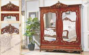 Романтика шкаф 4 дверный с зеркалом орех