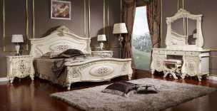 Лероз спальня комплект: кровать 180х200 + 2 тумбы прикроватные + туалетный стол с зеркалом + шкаф 5 дверный + пуф