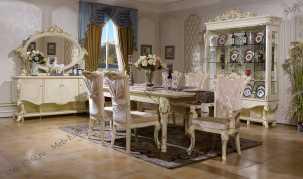 Роял столовая комплект: Сервант 3-х. дв.+Комод с зеркалом+ Стол обеденный 2,0 (2,4-2,8), Стул -6 шт+2 стула с подлокотниками. слоновая кость+золото