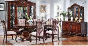 Изадора столовая комплект: витрина 4 дверная + буфет с зеркалом + стол обеденный + 6 стульев орех