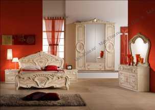 Роза  спальня комплект: кровать 160 + 2 тумбы + комод + 6 дв шкаф беж