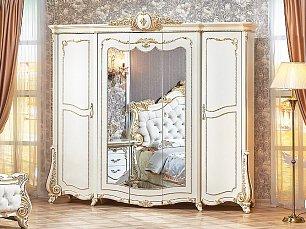 Монреаль шкаф 5 дверный с зеркалом крем глянец