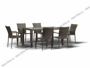 Ротанг Милан: комплект:стол обеденный 150х90+6 полукресел