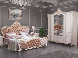 Беатрис спальня комплект: кровать 180х200+2 тумбы прикроватные+стол туалетный с зеркалом+шкаф 4 дверный