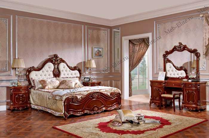 Алекса спальня комплект: кровать 180+2 тумбы+стол туалетный с/з+пуф+шкаф 4 дверный орех
