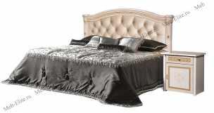 Карина 3 кровать 160х200 1 спинка+мягкий элемент беж глянец