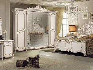 Лорена спальня комплект: кровать 180х200 + 2 тумбы прикроватные + туалетный стол с зеркалом и пуфом + шкаф 6 дверный беж глянец
