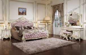 Монреаль спальня комплект: кровать 180х200 + 2 тумбы прикроватные + туалетный стол с зеркалом + шкаф 5 дверный + пуф