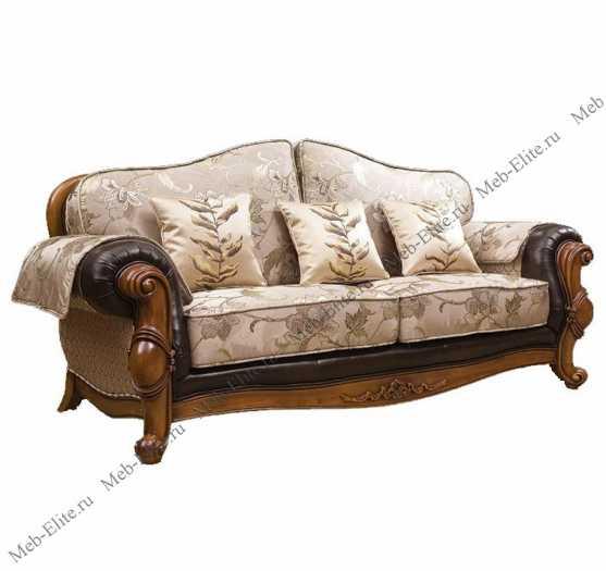 Карпентер 230-1 диван С 3 местный (Орех, ткань JY5680-3 /JY6118-3/2857кожа/JY6120-3/D10033C-3GF)