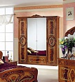 Роза шкаф 4 дверный с зеркалом орех