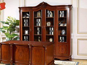 Моника кабинет комплект: шкаф 4 дверный+стол письменный орех