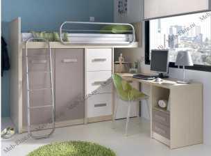 Данза детская 09: кровать-чердак +модуль кровати 2дверный+модуль кровати 3 ящика+стол письменный с тумбой