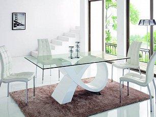 ЕСФ столовая комплект: стол обеденный 180х100 HT0989 + стулья DC365 4 шт. глянец