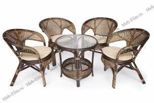 Пеланги комплект: столик + 4 кресла орех