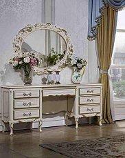 Виттория туалетный стол с зеркалом слоновая кость + золото