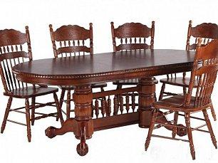 Мик столовая комплект: стол обеденный 164/204/244х107 MK-1104-HG + 6 стульев MK-1117-HG