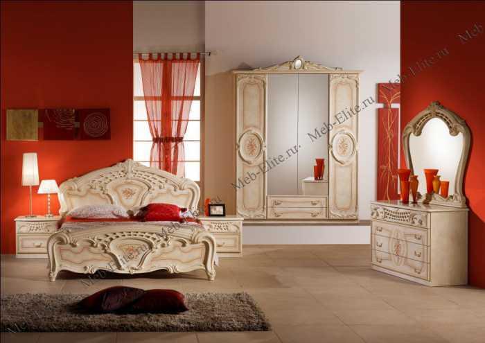 Роза спальня комплект: кровать 160 + 2 тумбы + комод + 4 дв шкаф беж