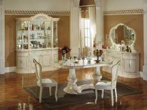 Роза столовая комплект: витрина 4 дв.+стол обеденный+6 стульев+буфет+зеркало (Л.Д) беж.