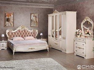 Магдалина СТ спальня комплект: кровать 180х200+2 тумбы прикроватные+комод+шкаф 5 дверный