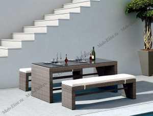 Ротанг Лекко комплект:стол обеденный 180х90+2 лавки
