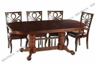 Мик столовая комплект: стол обеденный 153/199/245х107 MK-1109-HG + 4 стула MK-1505-CP