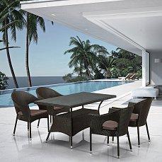 Комплект мебели 4+1 T198A/Y97B-W53 4 Pcs Brown иск. ротанг