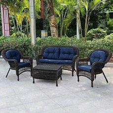 Комплект мебели 2+1+2 LV520BB Brown/Blue иск. ротанг