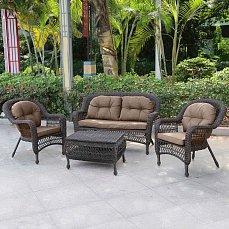 Комплект мебели 2+1+2 LV520BB Brown/Beige иск. ротанг