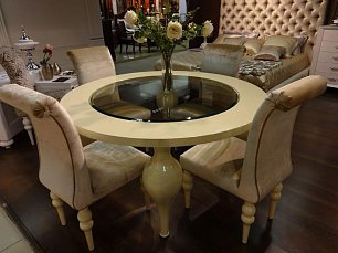 Палермо обеденный стол круглый 150х150 бежевый  PL113 глянец