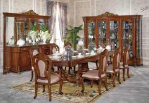 Глория 806 столовая комплект:витрина 4дверная+стол обеденный+комод с/з