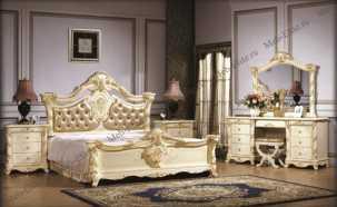 Опера Софа спальня комплект: кровать 180х200 + 2 тумбы прикроватные + туалетный стол с зеркалом + шкаф 5 дверный + пуф