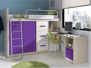 Данза детская 08: кровать-чердак +модуль кровати 2дверный+модуль кровати 3 ящика+стол письменный с тумбой