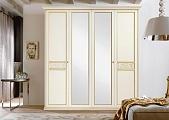Жиневра шкаф 4 дверный с зеркалом (бежевый)