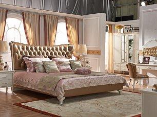 Карпентер 309 кровать 160х200 А слоновая кость, кожа 859