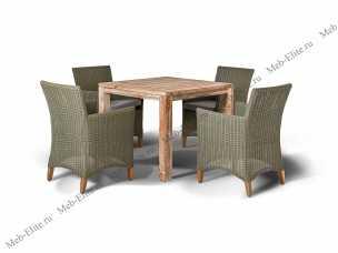 Ротанг Лана: комплект:стол обеденный 90х90+4 кресла